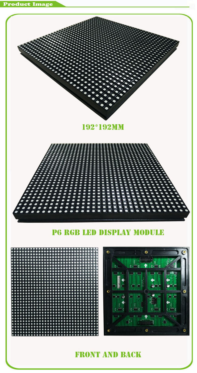 High Resolution P6 RGB Led Module Waterproof Full Color Led Screen Module 32 * 32 Dots